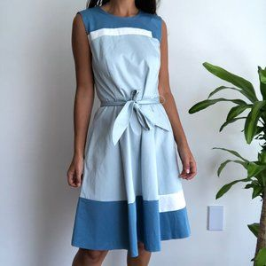 NWT Hugo Boss blue color block fit and flare dress